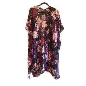 Black Floral Silky Kimono